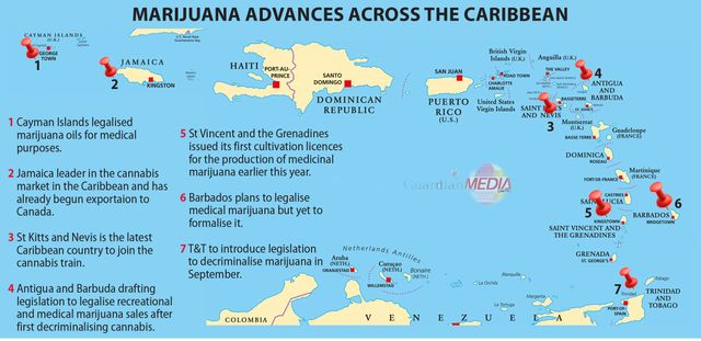 caribbean cannabis overview map